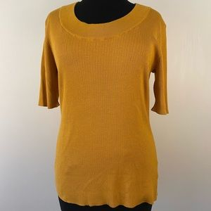 Knit marigold sweater ribbed stretchy comfy cozy